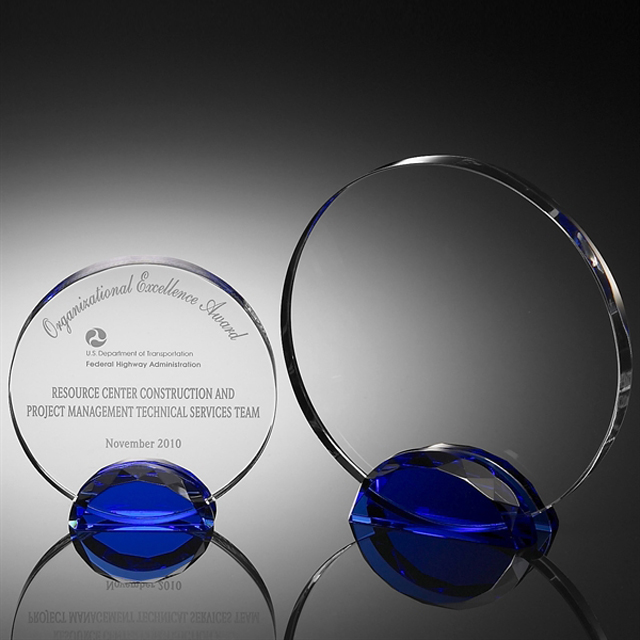 Clear blank engrave custom round crystal trophy for paperweight