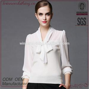 6e1d05d2a white colour high quality long sleeve latest fashion blouse design for lady
