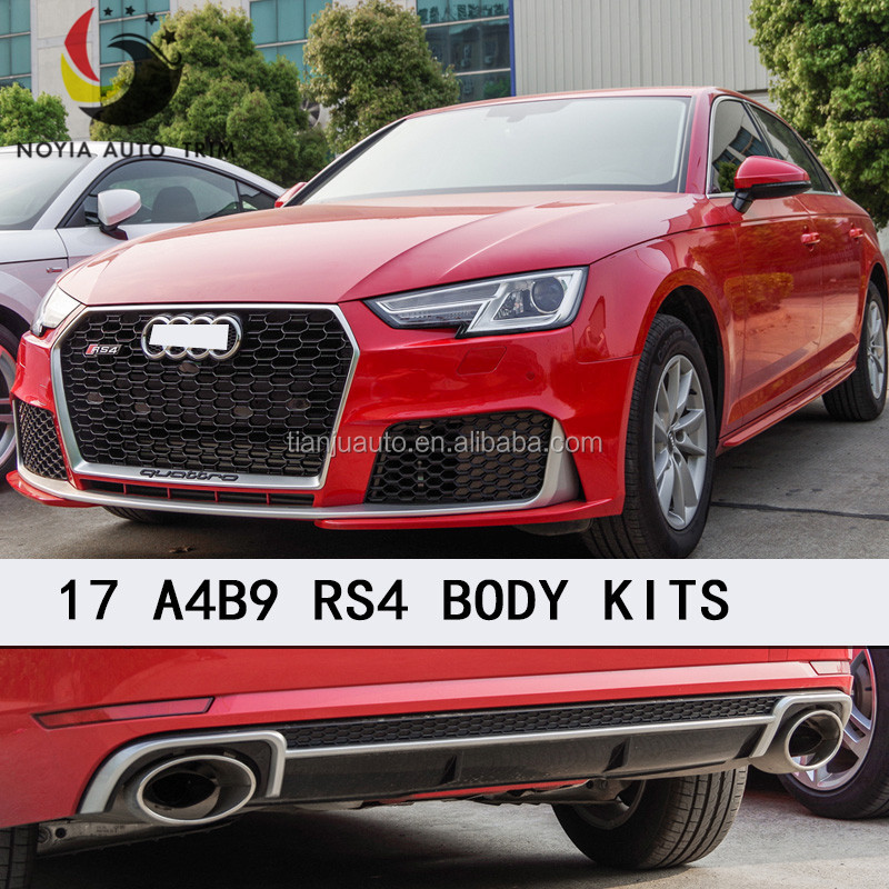 2017 A4 TO RS4 body kit ,front grill high quality for audi a4 16-17 B9 front bumper factory price,fog lamp cover for rs4