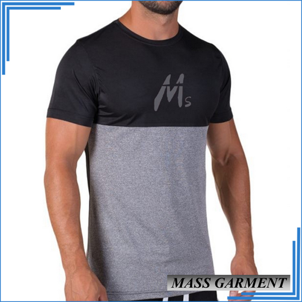 Mass Garment 95%Cotton 5%Elastane Two-tone Plain Color Custom Printing T Shirt