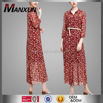 a0e1e2b692 Ladies Chiffon Floral Printed Bohemian T-shirt Design Dress Women Summer  Fashion Korean Style Long