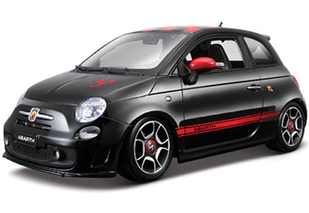 2008 Fiat 500 Abarth, Black - Bburago 11028 - 1/18 scale diecast model toy car