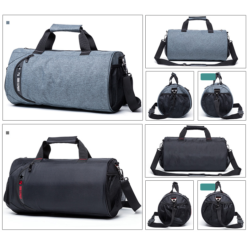 Fashion Lightweight Large Polyester Fitness Outdoor Sports Travel Duffel Bag For Men