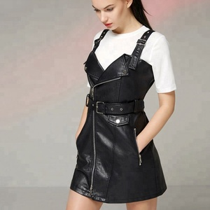 The Newest Punk Pu Leather Strap Sexy Overalls Dress For Women