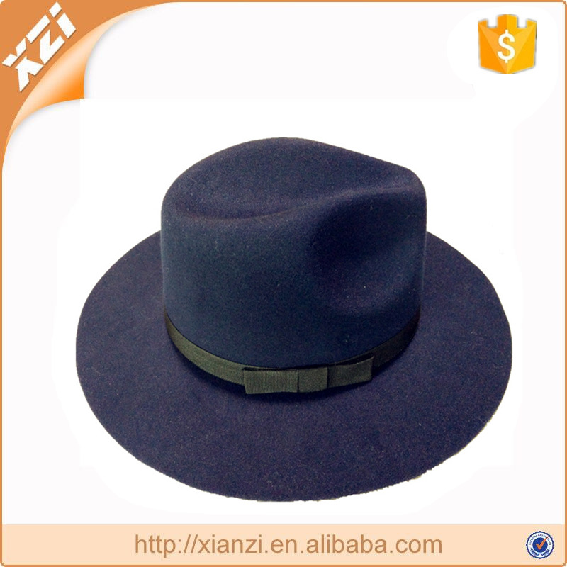 Vintage fake wool men's fedora hat wide brim ribbon bowler trilby cap