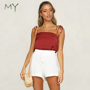 Rouleau straps tie shoulder wine red satin cami tops