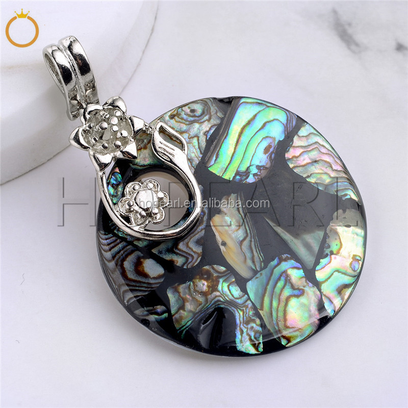 MOP135 Round Disc Abalone Pendant with Flower Branch Natural Sea Paua Shell Jewelry