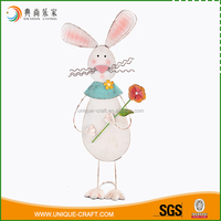 China popular style holiday decoration white metal easter bunny