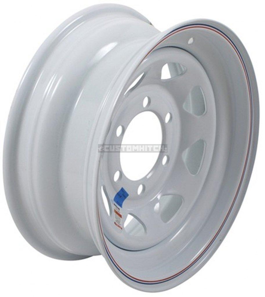 "eCustomRim Trailer Wheel Rim #346 15x6 15"" 6 Bolt Hole 5.5"" OC White Steel Spoke w/Stripe"