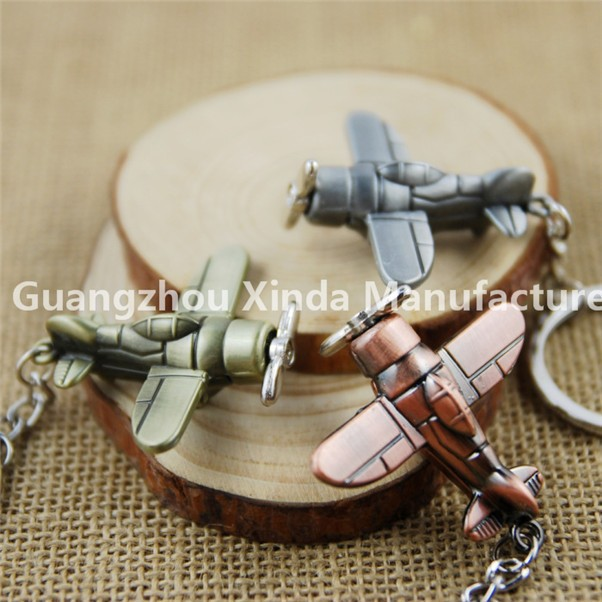 New 3D Metal Aviation Air Plane Key Chains Keyring Key Fob Creative Key Rings metal airplane keychain