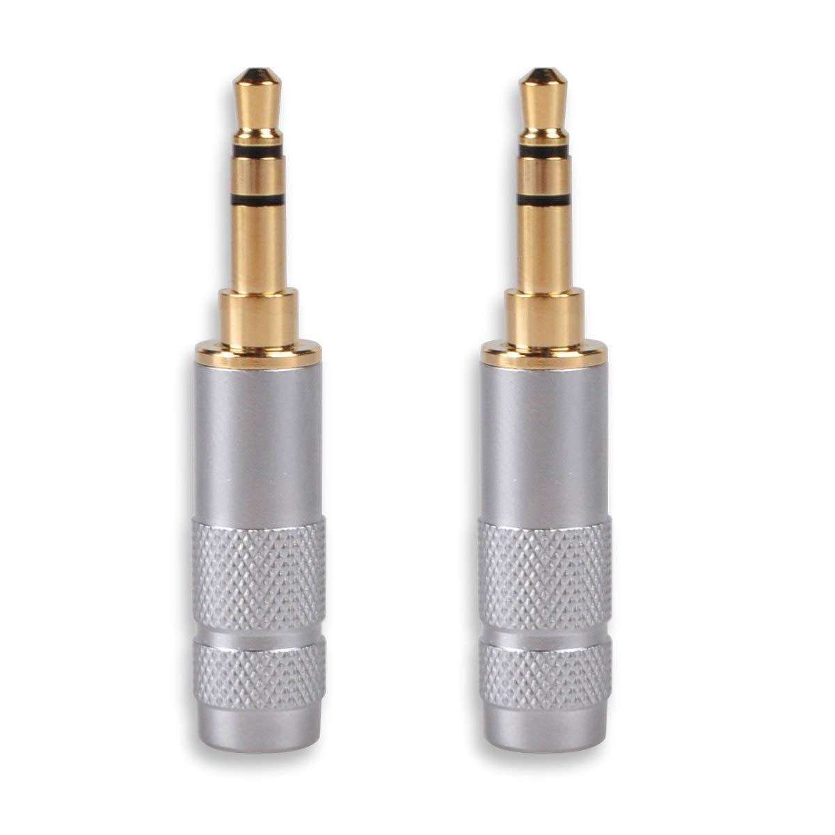 HTTX 3.5mm Audio Stereo Male Jack Soldering Repair Replacement Adapter for TRS Headphone Gold Plated 2-Pack