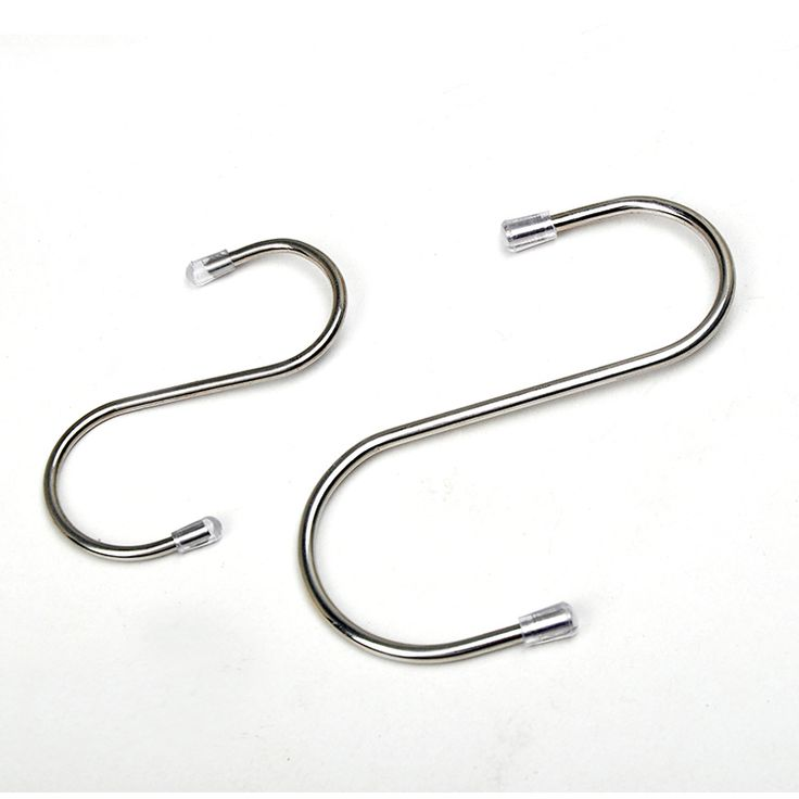 Stainless Steel Silver Coat clothes hanger S shape Hooks with ball cap