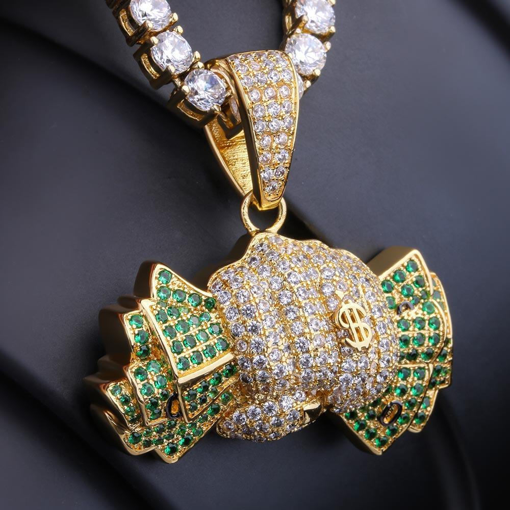 KRKC & CO 14 К золото зеленый CZ Iced Out держа Доллар Кулон хип хоп ювелирные изделия для amazon/ebay/желание интернет магазин оптовая продажа