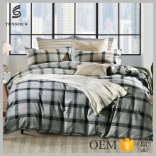 Grey Plaid Print King Queen Twin Duvet Cover Set 4pcs College Bedding Set