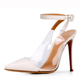 high quality ladies transparent pvc and patent upper sandals strap buckle new design half shoes half sandal