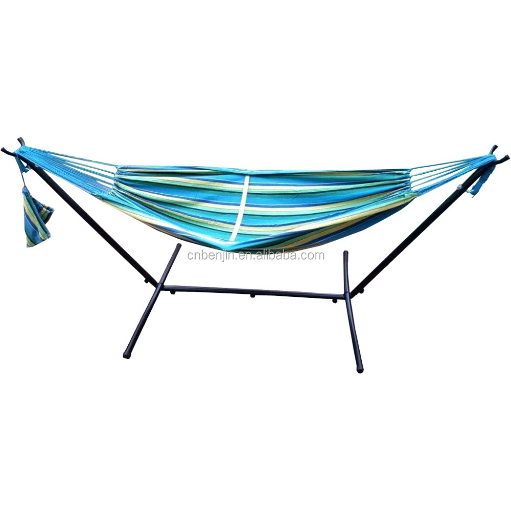 Indoor Outdoor Colorful Striped Camping Hammock For Garden Sports Home Travel Swing Thick Canvas Hang Bed standing hammock