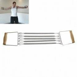 Durable Five Carbonic Steel Springs Chest Expander Exerciser Resistance Band with Wooden Handle for Body-Building - Silvery with Beige