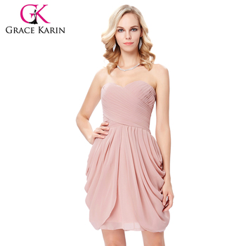 Grace Karin Strapless Sweetheart Neck Wedding Party Dress Chiffon Pink Short Bridesmaid Dress Patterns 7 Size US 4~16 GK000124-2