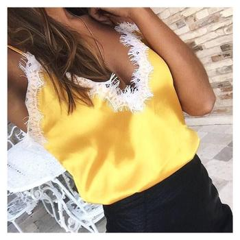 ZH2686G Lace Tops Women Female Sexy Golden Pink Black Tank Top Silk Camisole Evening Club Party 2018 Summer Camis Satin Crop Top