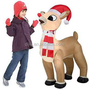 4d9a0e1ce1c6a Inflatable standing santa hat scarf Rudolph reindeer Christmas holiday yard  decoration