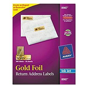 "Avery - 2 Pack - Foil Mailing Labels 3/4 X 2-1/4 Gold 300/Pack ""Product Category: Labels Indexes & Stamps/Labels & Stickers"""