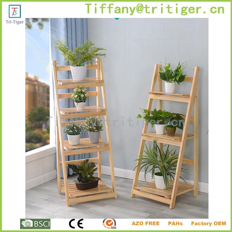 Escalera de madera maceta balcón flor marco planta flor plegable ...