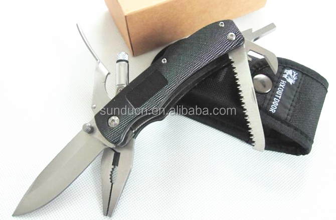 5 in 1 Knife 440 Stainless Steel Blade Aluminum Handle Multi Folding Pliers Miltitoolo Knife Pocket Knife