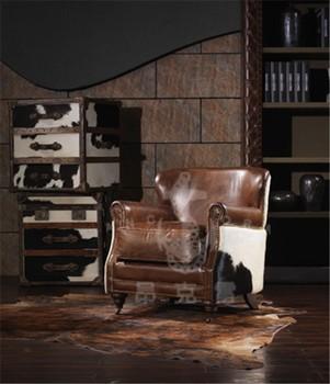 Vintage Living Room Sofa Brazilian Cigar Leather Armchair K606