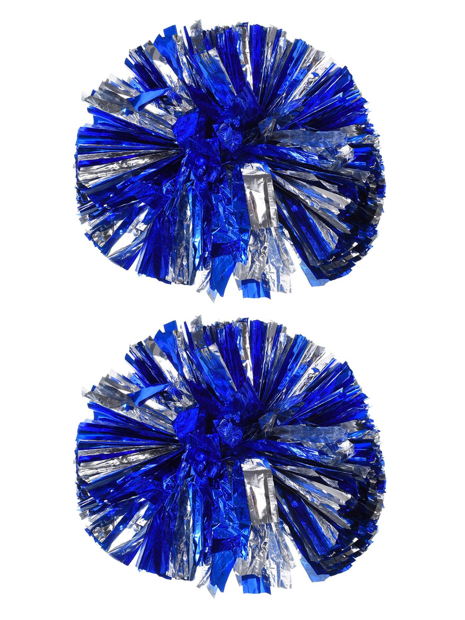 Bememo 2 Pack Cheerleading Pompoms Metallic Flower Ball Foil Plastic Rings Pom Poms for Cheer, Dance Team