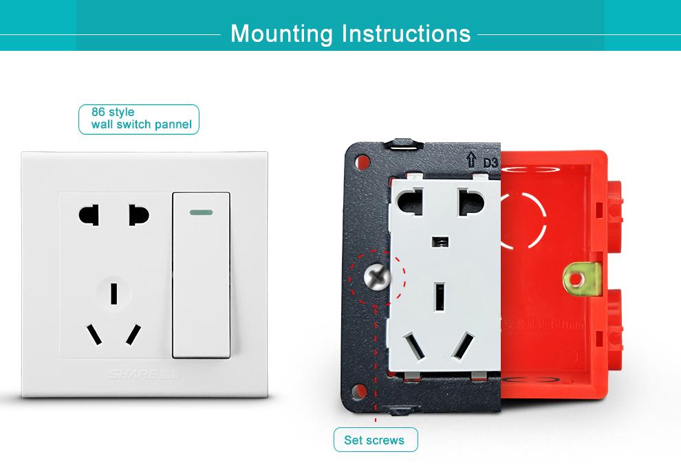 Fabrik Preis Hohe Qualität Wandschalter PVC elektrische anschlussdose sockel wand box rote farbe 86 stil