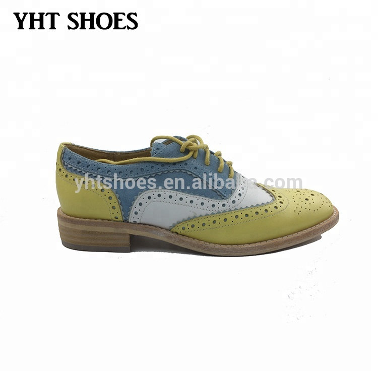 46f4b90bcb07 New designed genuine leather casual flat brogue shoes for women ladies