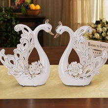 Wholesale handmade porcelain swan statue wedding return gift decoration wedding