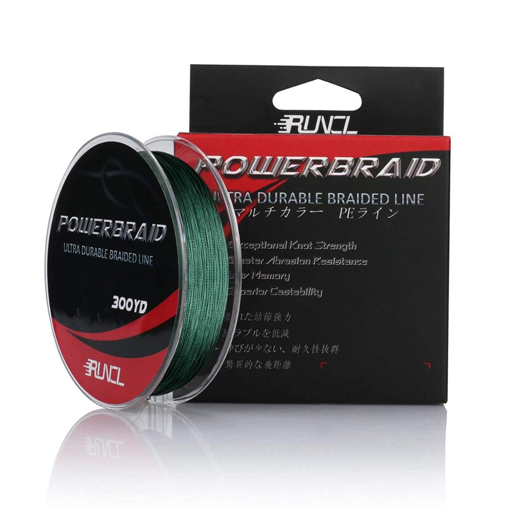 RUNCL PowerBraid Braided Fishing Line, Ultra Durable Braided Line 4 Strands Moss Green PE Line
