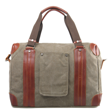 Vintage heavy duty canvas leather travel weekender duffle bag