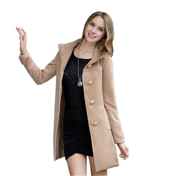 Autumn & Winter Coat Women 2015 New Woolen Casaco Feminino Fashion Long-sleeved Slim Coat Abrigos Mujer Hot Sale Women Coat