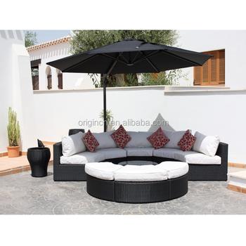 Elegant Half Round Garden Set Synthetic Rattan Sofa Outdoor Semi