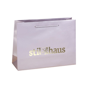 Hot stamp foil custom logo luxury fancy gift paper shopping bag with handles