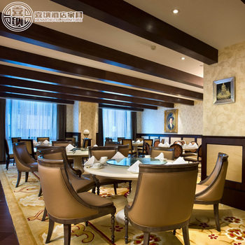 Luxury 5 Star Hotel Lobby Booth Table And Leather Chair Restaurant Furniture Sets