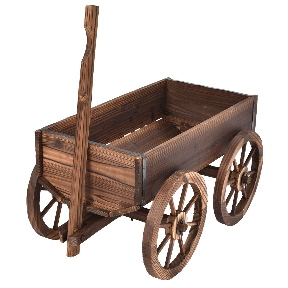 billionese Planter Pot Stand Wood Wagon Flower With Wheels Home Garden Outdoor Decor