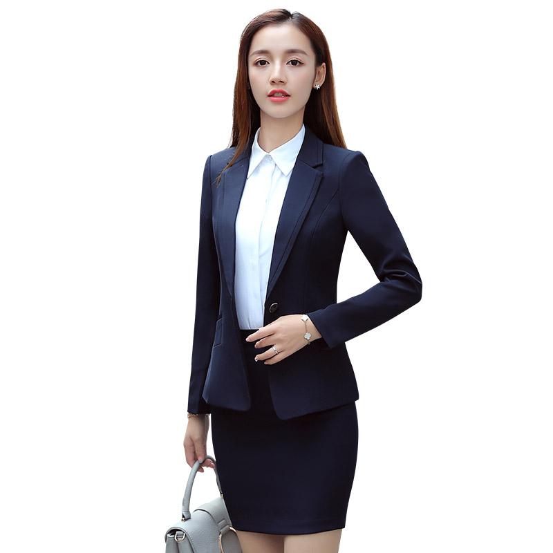 2018 Y Woman Office Suit Coat Pant Black Blue Suits Las Elegant Uniform Uniforms For Lady