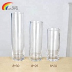 Customized size transparent cylinder glass vase for flower
