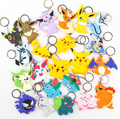 Cartoon Poke Figures PVC Two sided Keychains Anime Pikachu Snorlax Bulbasaur Gastly Chansey Squirtle Cute Pendants