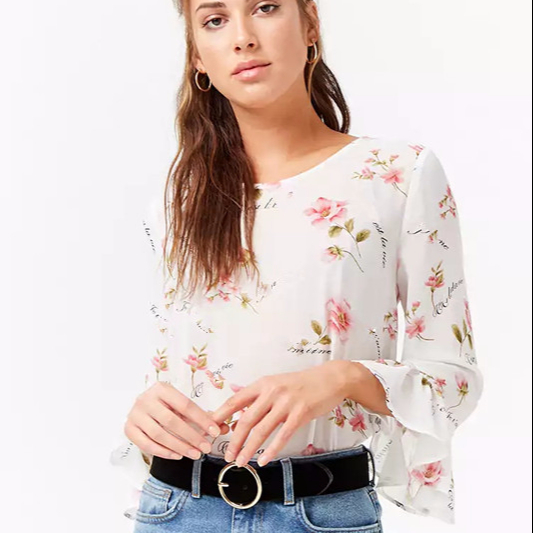 KY sexy chiffon round neckline long bell sleeves back buttoned keyhole cutout allover floral print women blouses and shirts