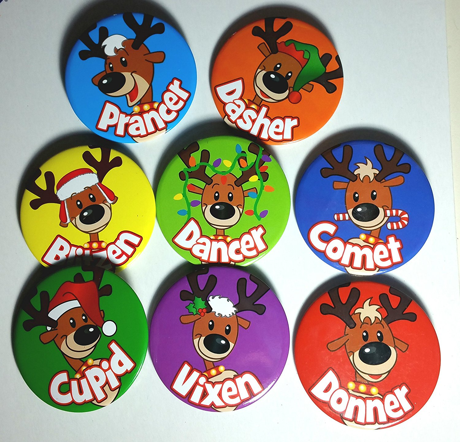 get quotations novelty holiday christmas buttons 2 12 santas reindeer games dasher dancer - Christmas Buttons