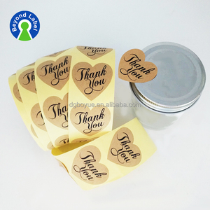 Custom 1.5 inch 2inch 2.5inch Kraft Brown Paper Stickers THANK YOU Heart Shaped Sticker Seal Adhesive Craft Paper Roll