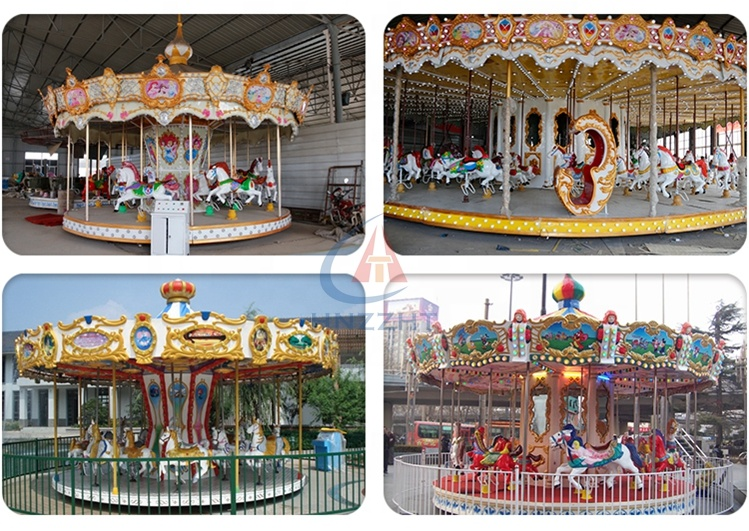 Outdoor playground amusement park ride big large carousel for sale