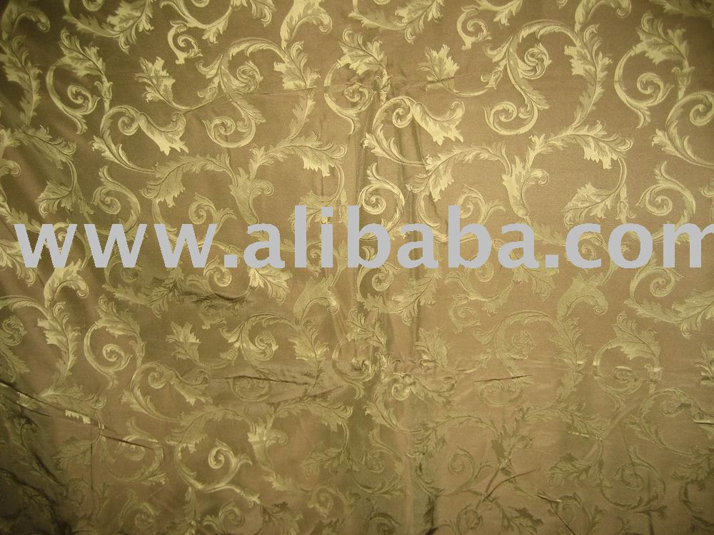 Khaki colour with gold jacquard design~SILK TAFFETA FABRIC 54""