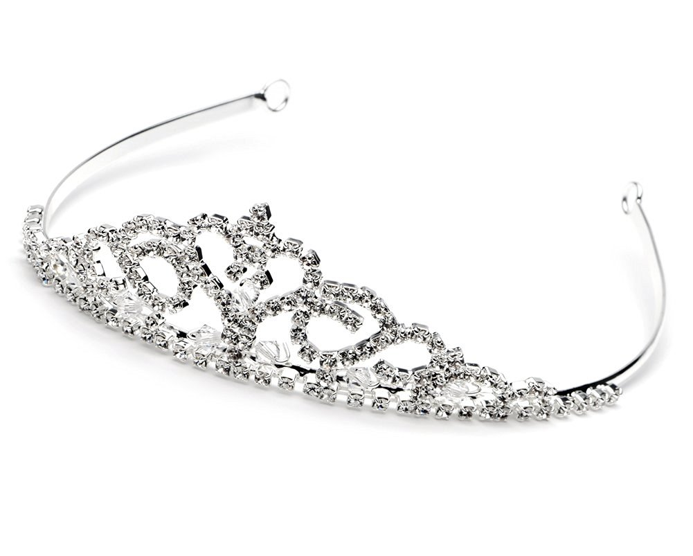 USABride Princess Flower Girl Headpiece Tiara First Communion Heart Silver Girls Child Crown Rhinestone TI-303