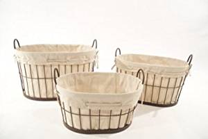 Baum 3 Piece Metal Basket with Linen Liner Set; Brown / Linen