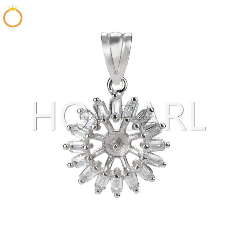 SSP267 Small Pendant Charm 925 Sterling Silver Accessories CZ Pearl Jewelry Mounting Findings